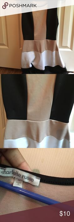 Black, Tan, White Skater dress Very cute casual dress! worn quite a bit but in great condition! Charlotte Russe Dresses