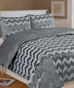Take a look at this Frost Gray Chevron Damask Full/Queen Microplush Bedding Set by Thro on #zulily today!