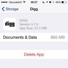 Tämä se jaksaa ihmetyttää. Digg Reader RSS-lukija turpoaa eikä tyhjennä cachea itsekseen. Todella hyvä Appsi muuten mutta saisi laihduttaa välillä. #fb #potkukelkkacom