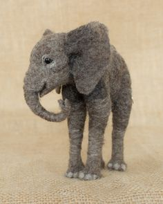 Jabari the African Elephant Calf: Needle felted animal sculpture by Megan Nedds of The Woolen Wagon