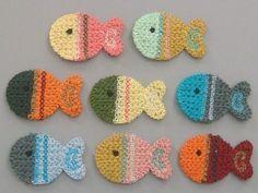 8 Crochet Fish Appliques 8 Colors EA126. $3.95, via Etsy.