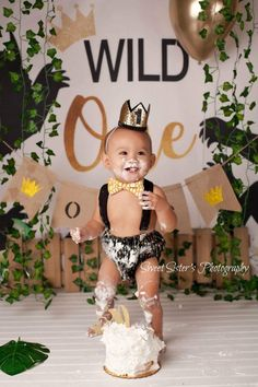 Wild things birthday outfit, wild things birthday, wild things cake smash outfit, bowtie suspender set, black and gold birthday – Birthday ideas Boys First Birthday Party Ideas, Jungle Theme Birthday, First Birthday Party Themes, Wild One Birthday Party, Baby Boy First Birthday, Boy Birthday Parties, Gold Birthday, 1st Birthday Cake Smash, 1st Birthday Pictures