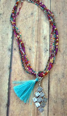 Bohemian Chic Multi Color Seed Beads Tassel by Cheshujewelry, $28.00