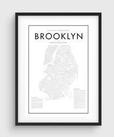 Minimal Brooklyn Map Poster, Black & White Minimal Print Poster, Art, Home Art, Minimal Graphics, New York Poster, Map Home Decor by PurePrint on Etsy