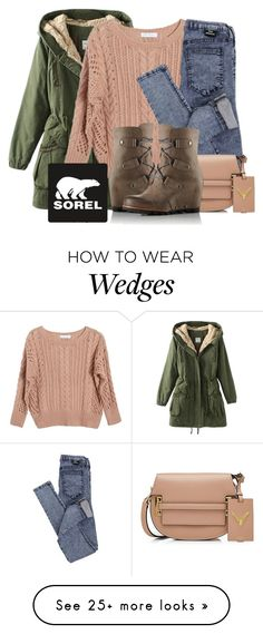 """Kick Up the Leaves (Stylishly) With SOREL: CONTEST ENTRY"" by beautyandstylefox on Polyvore featuring Ryan Roche, Dr. Denim, SOREL, Valentino and sorelstyle"