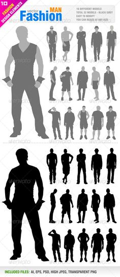32 Fashion Men's Silhouette #GraphicRiver Vector set fashion Men's silhouette. 16 Different model. pieces. Vector silhouettes . You can use resize at any size. Ai, eps, psd, high jpsd documents. You can see other fashion design elements from my portfolio.. Please, dont forget to rate my vectors! Thank you FASHION Created: 9March13 GraphicsFilesIncluded: PhotoshopPSD #TransparentPNG #JPGIma