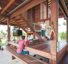 Asian House, Thai House, Cottage In The Woods, House In The Woods, Bungalow, Wooden House Design, Tiny House Nation, Bamboo House, Container House Design