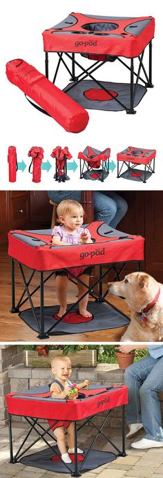 Go Pod Portable Activity Center - keeps active babies who don\'t like sitting happily in one place on the go! Folds up compact. Awesome baby product, perfect for picnics, outdoors, playtime at home, easily carried anywhere. #product_design #gopod