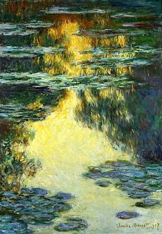 Claude Monet (French, 1840 - 1926) Water Lilies 1907 https://hemmahoshilde.wordpress.com/2015/04/10/monet-wonderful-waterlillies/ <----You're welcome to read about these waterlillies and other waterlillies by Monet on my art blog :).