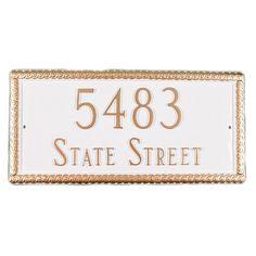 Harrison 2-Line Rectangle Address Plaque - PCS-73-SB/G-W