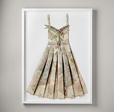 Hand-Folded Vintage Map Sundress in a shadowbox.