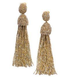 Oscar de la Renta Hematite Seed Beaded Fringe Earrings - ShopBAZAAR