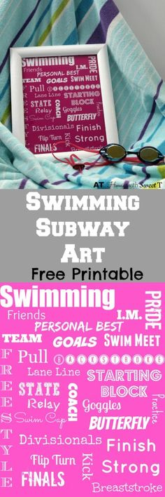 Swimming Subway Art Free Printable available at http://www.athomewithsweett.com Print your favorite color or your team colors.