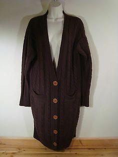Women Moda International Brown Cable Knit Long Cardigan Sweater Medium M V Neck | eBay