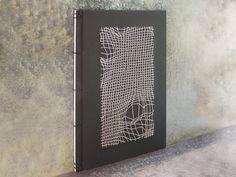 Embroidered Notebook / Men's Black Book / Disturbed Mesh / B&W Journal / Science Art Book / Graphic Design Journal / Geometrical Notebook