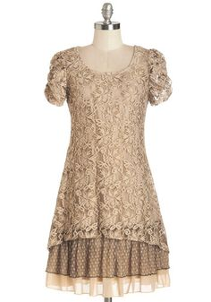 A Date to Celebrate Dress - Brown, Solid, Lace, Tiered, Party, A-line, Short Sleeves, Woven, Better, Scoop, Mid-length, Lace, Ruching, Vintage Inspired