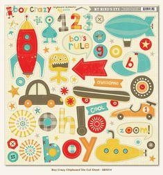 Boy Crazy - Chipboard die cut sheet