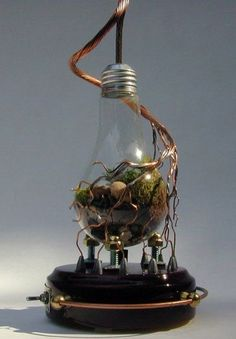 Steampunk Light bulb Terrarium love the way the separate the wire and make sculpture out of it.and 9 other planters created from old light bulbs.