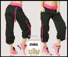 ZUMBA Top Line CARGO PANTS HIPHOP-Converts to Capris wSide Snaps-Berry Nice S M