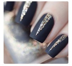 Matte black nails with shimmery gold triangles georgeous formal nails x