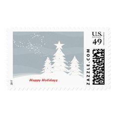 "Snowfall and Pine Trees - ""Happy Holidays"" Postage - holidays diy custom design cyo holiday family"