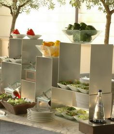 Buffet idea with buffet stands and elevations for glass salad bowls by Glass Studio, via Flickr
