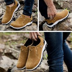 Fashion Men Hiking Suede Breathable Slip Resistant Slip On Outdoor Sneakers - NewChic