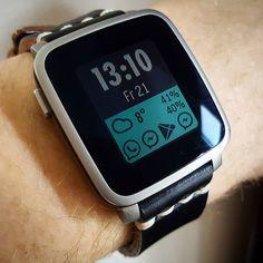 """N2W"" #Watchface by @RodgerLeblanc on #PebbleTimeSteel with a black @primria_design #watchband #pebble #smartwatch #pebbletime #watchfaces Pebble Smartwatch Watchfaces"