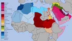 Landkarte der arabischen Dialekte - Arabisch ist eine sehr unterschiedliche Sprache