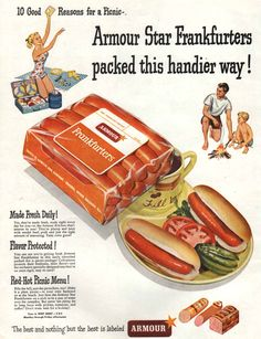 Armour Star Frankfurters Hot Dogs Vintage Ad Family Cookout Camping Picnic 1950's Large Size Kitchen Wall Decor on Etsy, $8.00