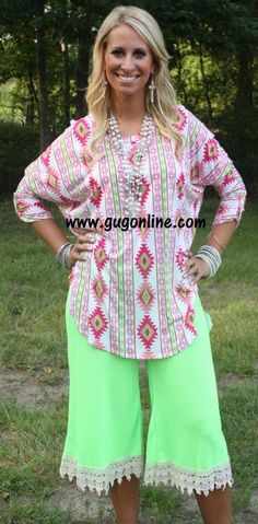 Story Of A Girl Neon Green Capri Pant with Ivory Trim $32.95 www.gugonline.com