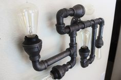 Steampunk / Industrial Pipe Lighting Wall Art, Vintage Edison Light bulbs - Unique Wall sconce light fixture, industiral black pipe light