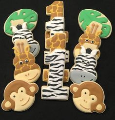 Jungle / Safari Themed with Numbers Sugar Cookies Safari Theme, Jungle Safari, Jungle Theme, Safari Party, Zebra Cookies, Sugar Cookies, Cookie Designs, Cookie Ideas, Dairy Free Cookies