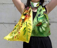 Silk Satin Scarf. Unique hand painted floral silk by SilkRevolt
