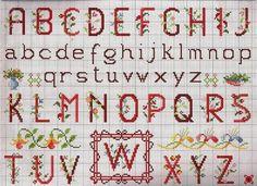alphabet fleurs rouges