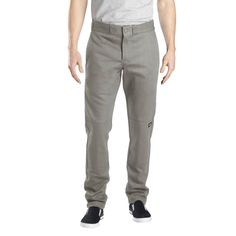 Dickies Men's Skinny Straight Fit Flex Twill Double Knee Pant- Silver Gray 36x30