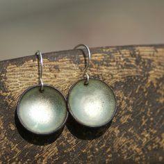 Simple Enamel Earrings Sea Glass Green round earrings, handmade copper earrings. $20.00, via Etsy.