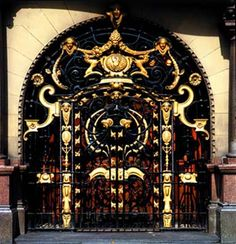 Philharmonic Hotel, Hope Street, Liverpool: wrought iron and copper gates (c.1900), School of Architecture and Applied Art```
