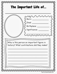 elementary famous person research template - Google Search