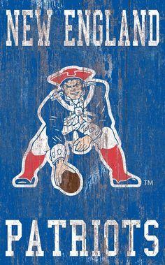 "New England Patriots Distressed Logo 11""x19"" Wall Art"