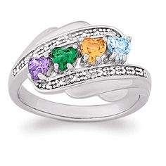 Buy Sterling Silver Mother's Heart Family Birthstone Ring with Genuine Diamonds at Li