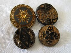 Lot of 4 VINTAGE Gold Luster Trim Black Glass BUTTONS by abandc, $6.99