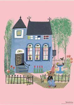 Poster Blauw huis pink Fiep Westendorp 42 x 59.4 cm