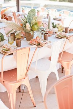 Modern bridal shower idea - copper + white chairs with cactus centerpieces {Courtesy of Beijos Events}
