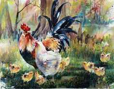 Lian Quan Zhen Watercolor Sketch, Watercolor Artists, Watercolor Animals, Watercolor And Ink, Watercolor Paintings, Watercolors, Fancy Chickens, Chicken Painting, Rooster Art