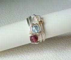 Set van 3 ringen, Stapelen van Papery Decor op DaWanda.com