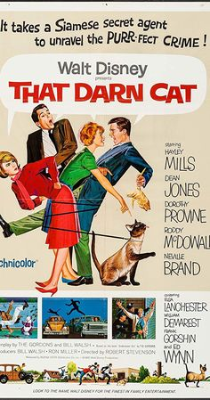 Directed by Robert Stevenson. With Hayley Mills, Dean Jones, Dorothy Provine, Roddy McDowall. After a kidnapped bank teller uses a neighbor's wandering cat to send an S. assigns a cat-allergic Agent to the case. Disney Movie Posters, Old Movie Posters, Movie Poster Art, Disney Films, Film Posters, Indie Movies, Old Movies, Vintage Movies, Great Movies