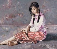 "Lu Jian Jun ""In Lu Jian Jun, China has produced an artist of imagination, a man with a distinctive and unquestionable mast. Hangzhou, Painting People, Figure Painting, Art Du Monde, Hyper Realistic Paintings, China Art, Pr China, Beautiful Asian Women, Chinese Painting"