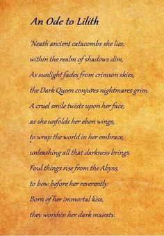 Ode to lilith Lillith Goddess, Religion, Angels And Demons, Gods And Goddesses, Book Of Shadows, Magick, Spelling, Writing, Words