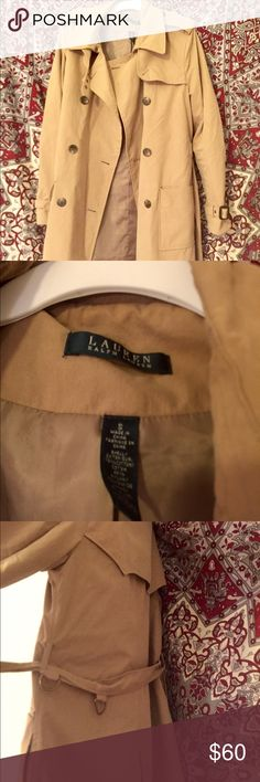 Lauren Ralph Lauren Classic Trench Coat In great condition!! Classic trench coat in khaki/beige color. Hits about mid thigh. Nice deep pockets. Button closure and belt. Bought this to wear in France and it worked perfectly in the cool March weather. Size small but seems to run a little big. Maybe closer to a medium unless you are broad shouldered. I love this coat but it isn't really my style anymore. Lauren Ralph Lauren Jackets & Coats Trench Coats